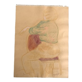 1995 Seated Female Model Pastel Drawing For Sale