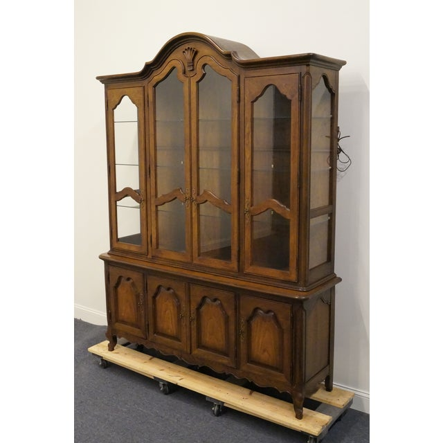 French 20th Century French Lighted Breakfront China Cabinet For Sale - Image 3 of 12