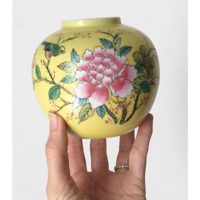 Asian Japanese Porcelain Ware Yellow With Pink Flowering Branch and Bird Vase For Sale - Image 3 of 12