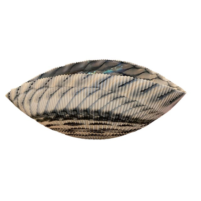 Metal Murano Glass Folded Seashell Bowl For Sale - Image 7 of 7