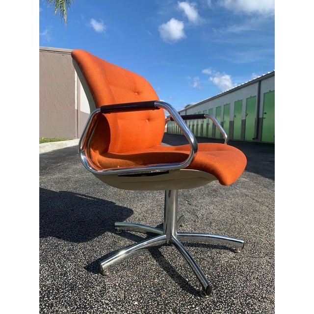 Vintage Steelcase Orange Tweed Office Swivel Chair For Sale - Image 9 of 12