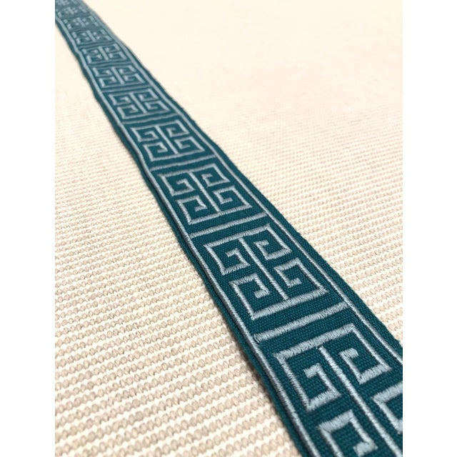 "Modern Modern Braemore Peacock Blue Greek Key 1.75"" Band Fabric Trim - 30 Yards For Sale - Image 3 of 4"