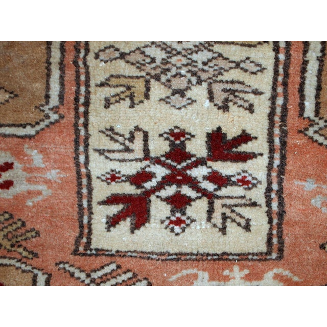 "Brown 1940s Vintage Turkish Oushak Handmade Runner - 2'5"" x 8' For Sale - Image 8 of 10"