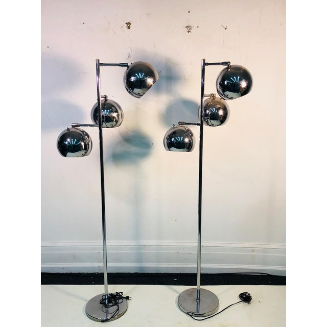 Metal Koch & Lowy Three Globe Shades Chrome Floor Lamps- A Pair For Sale - Image 7 of 7