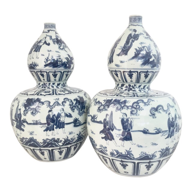 Chinese Blue and White Double-Gourd Form Porcelain Vases - a Pair For Sale