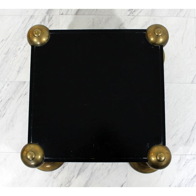 1960s 1960s Mid-Century Modern Brass Black Lacquer Wood Pedestal Table For Sale - Image 5 of 6