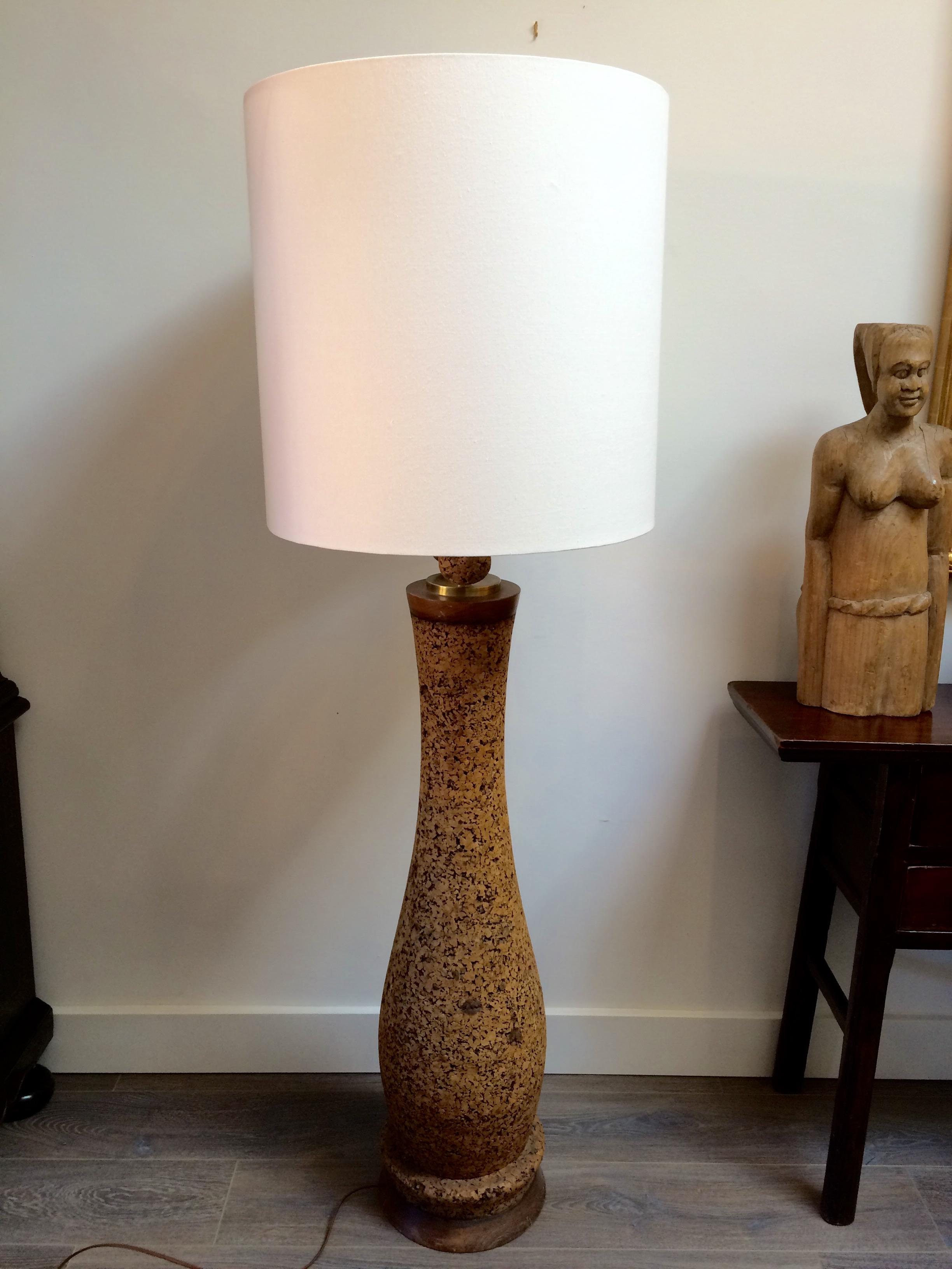 Mid century cork floor lamp with linen shade image 5 of 9