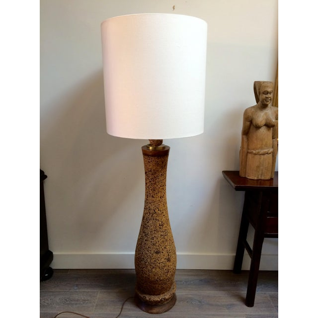 Mid-Century Cork Floor Lamp With Linen Shade For Sale - Image 5 of 9