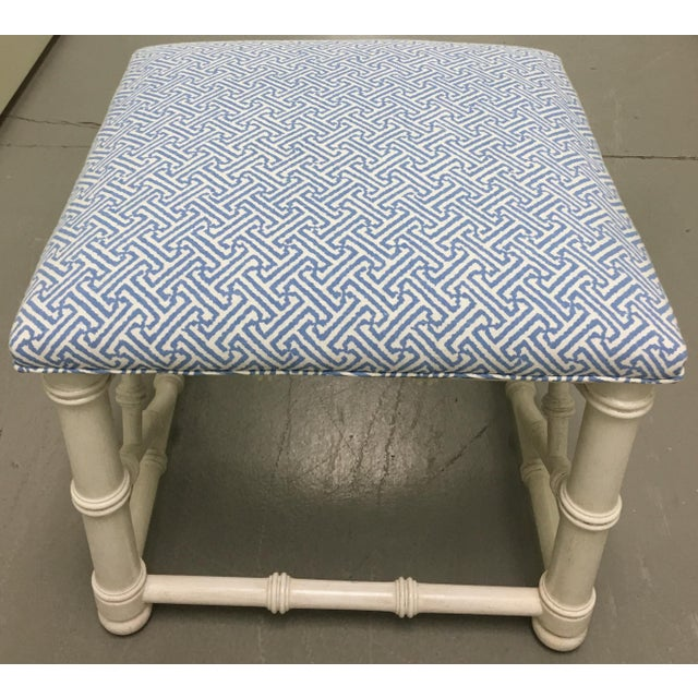 White Faux Bamboo Bench with Quadrille Upholstery For Sale - Image 4 of 4