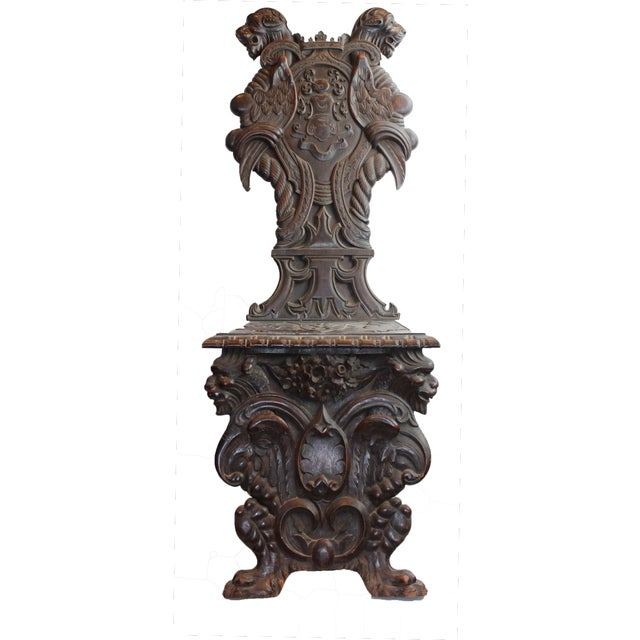 Brown Early 19th Century Antique Italian Pasargad DC Renaissance Carved Wooden Chair For Sale - Image 8 of 12