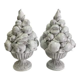 1950s Italian Ceramic Topiaries - a Pair For Sale