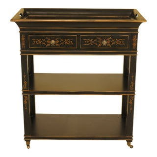 1990 Regency Hickory Chair Co Paint Decorated Server Cart For Sale