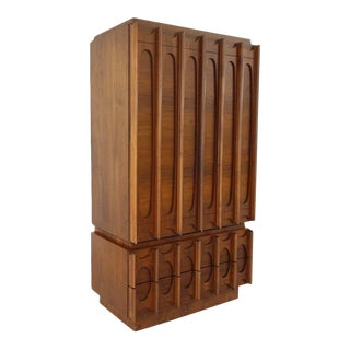 1970's Brutalist Highboy Armoire For Sale