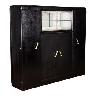 1930s French Art Deco Black Painted Cabinet For Sale