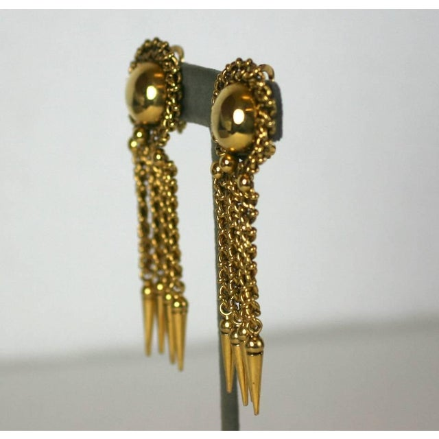 Massive and cool Italian Chain Fringe Earclips from the 1980's. Intricate chain links surround a large dome on ear with...