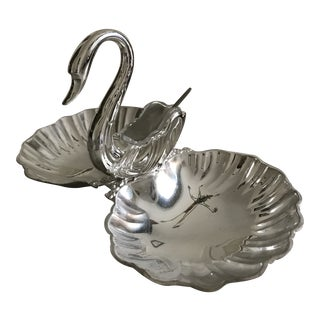 3 Piece William & Rogers Silverplate Swan Condiment Server For Sale