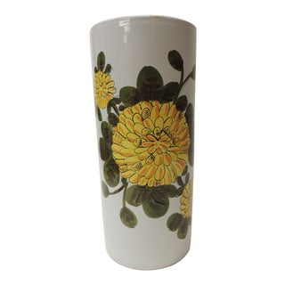Vintage Hand Painted Ceramic Umbrella Stand For Sale