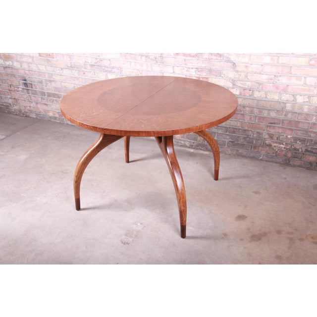 Brown Harold Schwartz for Romweber Mid-Century Modern Spider Leg Extension Dining Table, Newly Restored For Sale - Image 8 of 13