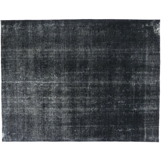 Textile Vintage Turkish Dark Charcoal Rug With Industrial Style - 09'04 X 12'02 For Sale - Image 7 of 7