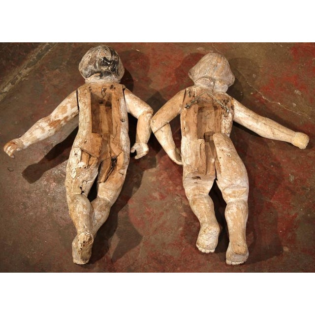 Mid-18th Century Italian Hand-Carved White Wash Cherubs - A Pair For Sale - Image 9 of 10