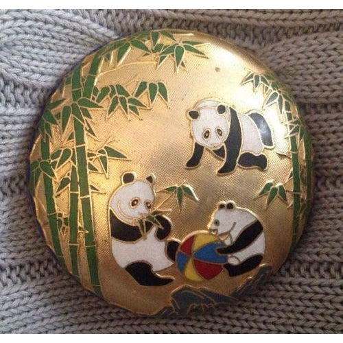 Chinese Cloisonne Enamel Panda Box With Lid For Sale - Image 5 of 5