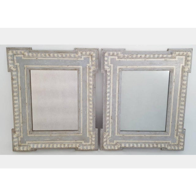 Blue and Cream Painted Mirrors - A Pair - Image 5 of 5