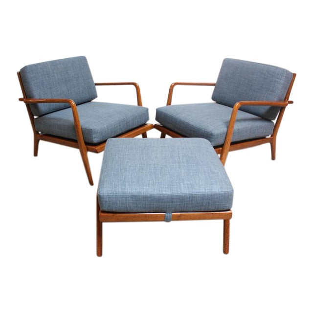 Pair of Mid-Century Walnut Armchairs and Ottoman by Mel Smilow - Image 1 of 11