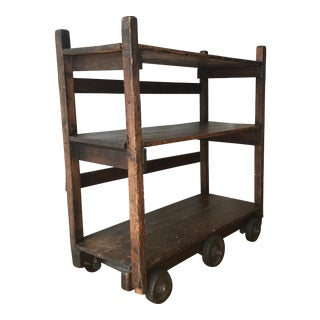 Vintage Industrial Wood Cart With Wheels