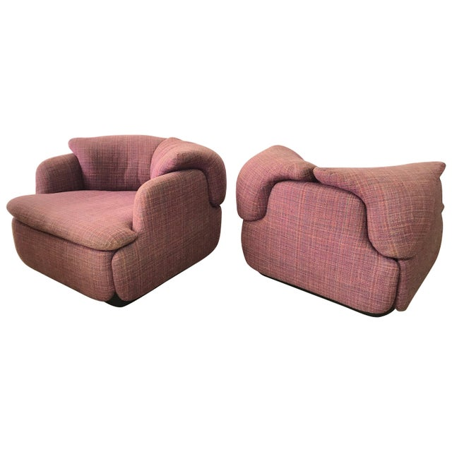 "Pink Pair of Pink Tweed ""Confidential"" Chairs by Alberto Rosselli for Saporiti Italia For Sale - Image 8 of 8"