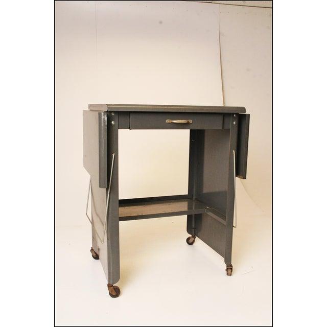 Vintage Cole Steel Industrial Gray Rolling Typewriter Table - Image 3 of 11