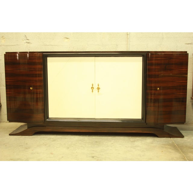 Classic French Art Deco Macassar Sideboard or Bar With Parchment Center Door By Maurice Rinck , Circa 1940s. - Image 5 of 11