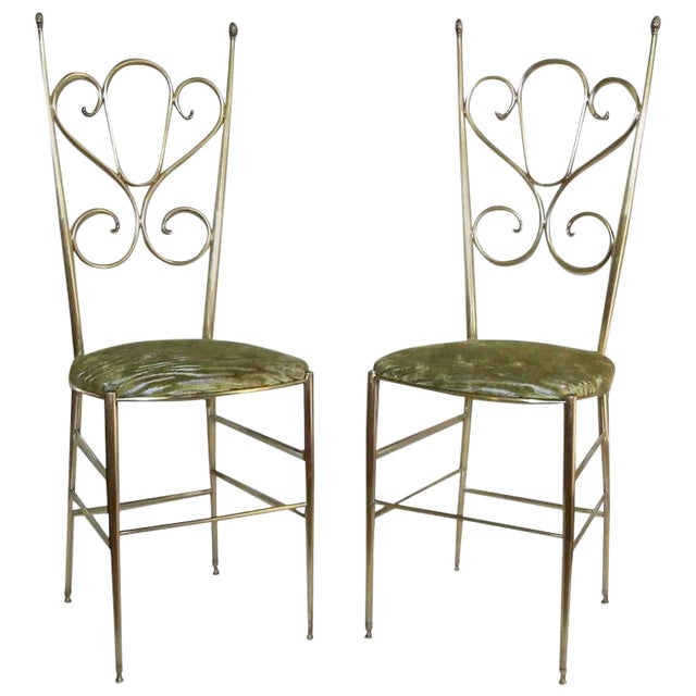 1950s Italian all Back Brass Chiavari Side Chairs - a Pair For Sale