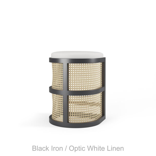Not Yet Made - Made To Order Isabella Counter Stool - Black Iron, Optic White Linen For Sale - Image 5 of 5
