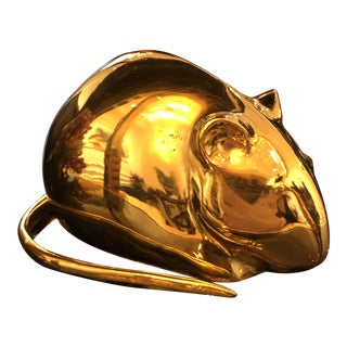 Modern Golden Mouse Figurine For Sale