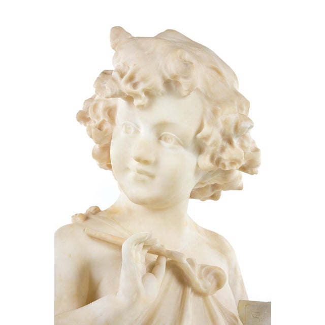 19th Century Antique Alabaster Sculpture of a Young Painter - Image 3 of 9