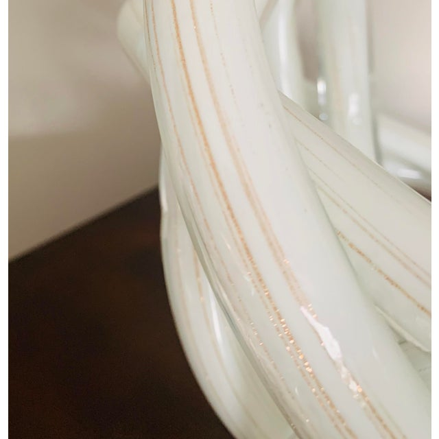 Early 21st Century Gigantic Luxury Gilt White Art Glass Knot For Sale - Image 5 of 6
