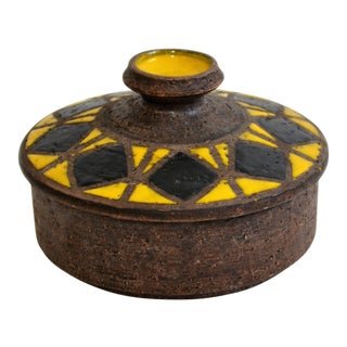 Aldo Londi Bitossi Mid Century Modern Pottery Covered Dish For Sale