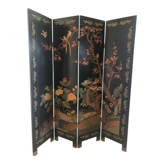 Chinoiserie Black Partition 4 Panel Room Screen