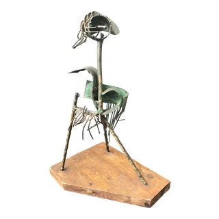 1960s Vintage Brutalist Abstract Bronze Mixed Metal Sculpture For Sale