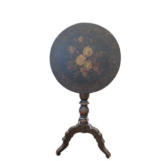 19th Century Traditional Tole Tilt-Top Parlor Table For Sale