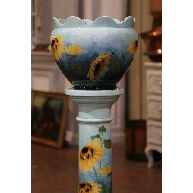 Art Nouveau 19th Century French Hand Painted Ceramic Planter and Stand Signed D. Massier For Sale - Image 3 of 13
