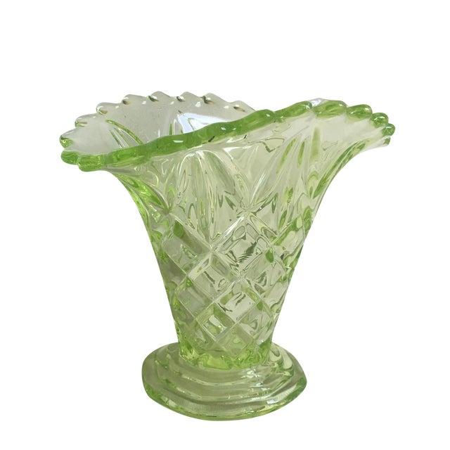 """Vintage 1930s Art Deco Uranium Green Glass """"Manchester Basket"""" Vase - Image 1 of 10"""