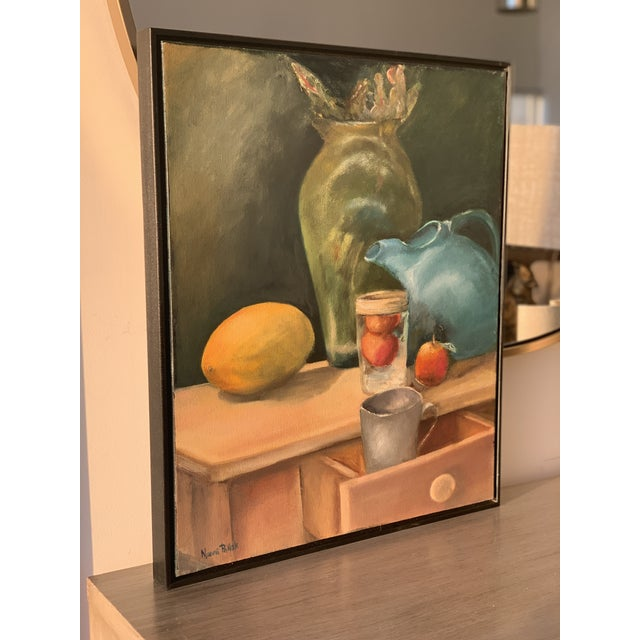 Early 21st Century Still Life Painting With Lemon and Pitcher For Sale - Image 5 of 9