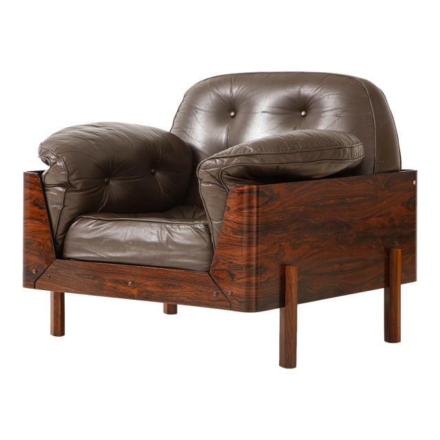 Brazilian Lounge Chair in Jacaranda and Brown Leather For Sale