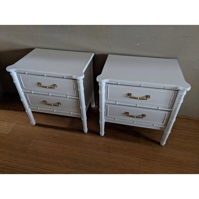 Henry Link 1970s Chinoiserie Henry Link Faux Bamboo High Gloss White Night Stands - a Pair For Sale - Image 4 of 7