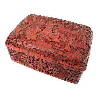 Cinnabar and Enamel Box For Sale