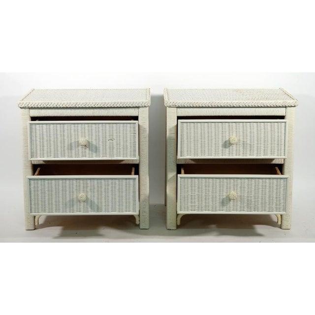 Henry Talmadge Link (American/Kentucky, 1889 - 1983). Vintage pair of Henry Link wicker bedside or end/side tables, each...