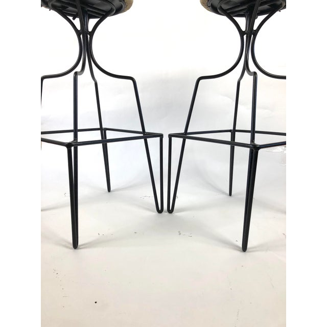 Black Mid Century Wrought Iron Swivel Bar Stools - a Pair For Sale - Image 8 of 10