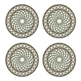 "TC Treillage Gold, 16"" Round Pebble Placemats, Set of 4 For Sale"