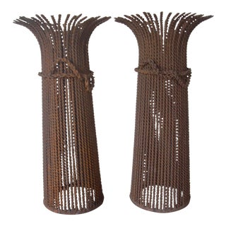 Vintage Wire Candle Holders - a Pair For Sale